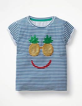 White/Blue Pineapple Face Shiny Appliqué T-shirt
