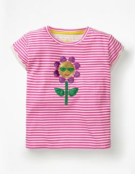 White/Festival Pink Flower Shiny Appliqué T-shirt