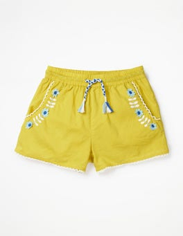 Sweetcorn Yellow Embroidered Tie-waist Shorts