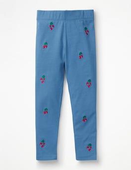 Elisabethanisches Blau, Kirschen Bestickte Leggings