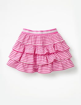 Tickled Pink/White Stripe Jersey Ruffle Skort