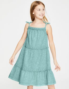 Mineral Blue Tiered Garment-dyed Dress
