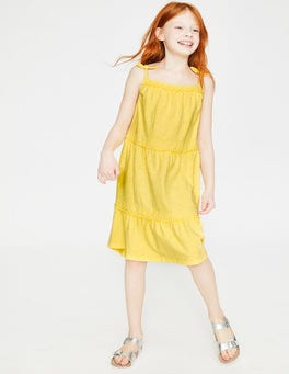 Primrose Yellow Tiered Garment-dyed Dress