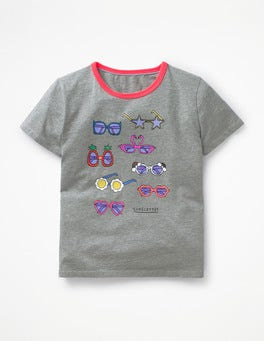Grey Marl Sunglasses Sun Time T-shirt