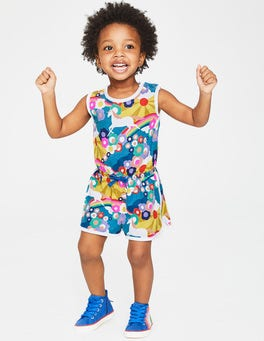 Multi Unicorn Sunset Retro Jersey Romper