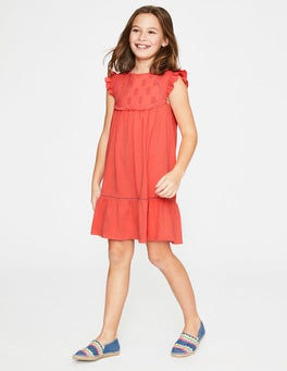 Tropical Coral Tropical Broderie Dress