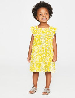 Sunshine Yellow Daisy Cloud Frill Sleeve Jersey Dress