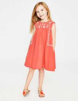Tropical Coral Bold Embroidered Jersey Dress