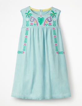 Mineral Blue Bold Embroidered Jersey Dress