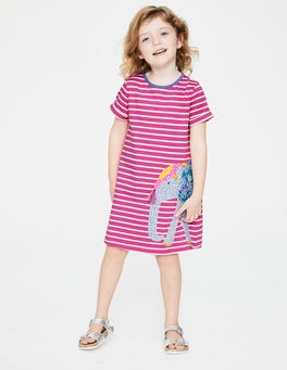 Tickled Pink Stripe/Elephant Safari Friends Appliqué Dress