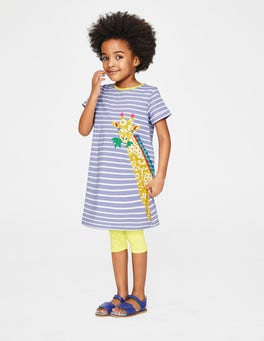 Parma Violet Stripe/Giraffe Safari Friends Appliqué Dress
