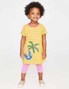Sweetcorn Yellow Stripe/Sloth Safari Friends Appliqué Dress