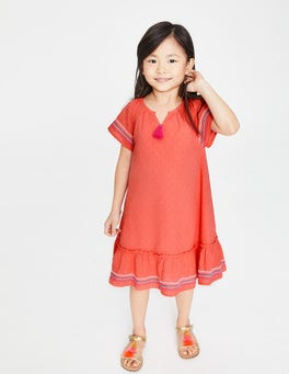 Tropical Coral Embroidered Trim Dress