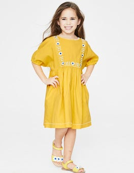 Sweetcorn Yellow Embroidered Boho Dress