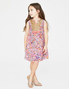 Flamingo Pink Tropical Paisley Sequin Detail Dress