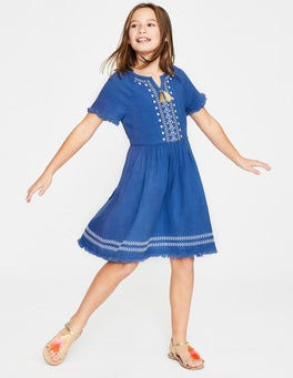 Duke Blue Fringe Detail Woven Dress