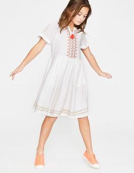 White Fringe Detail Woven Dress