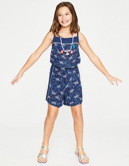 Starboard Blue Tropical Tigers Hotchpotch Woven Playsuit