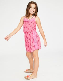 White/Pink Glo Sweet Berry Hotchpotch Woven Romper