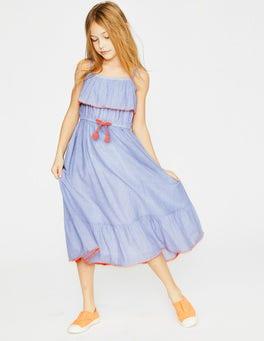 Chambray Tie-waist Midi Dress