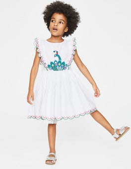 White Scallop Embroidered Dress
