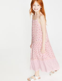 Festival Pink Scatter Star Strappy Woven Sundress