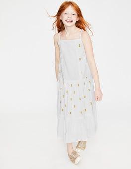 Weiß/Gold, Ananas Gewebtes Sommerkleid mit Trägern