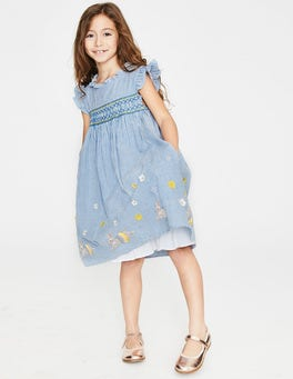 Elizabethan Blue Bunnies Frill Sleeve Smocked Dress