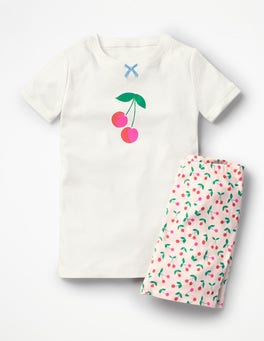 Parisian Pink Cherries Fun Short John Pyjamas