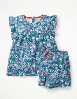 Blau, Vergissmeinicht Jerseyschlafanzug-Set mit Rüschen