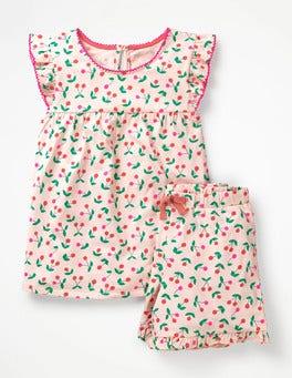 Parisian Pink Cherries Ruffle Jersey Pyjama Set