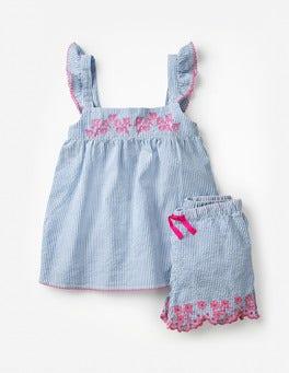 Bleu Élizabeth style coutil Pyjama avec détail tissé