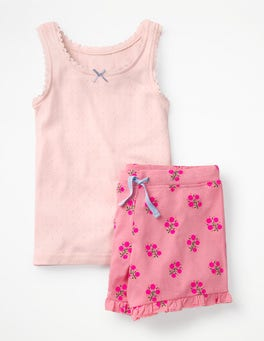 Flamingo Pink Woodblock Shortie Vest Pyjama Set