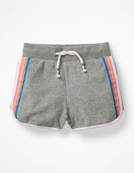 Grau Meliert Retro-Frottee-Shorts
