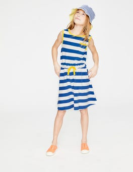 White/Duke Blue Stripe Towelling Tie-waist Dress