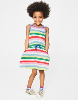 Multi Stripe Towelling Tie-waist Dress