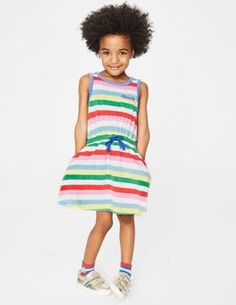 Bunt, Gestreift Frottee-Kleid mit Taillenschnürung