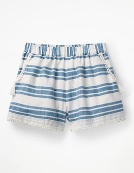Elizabethan Blue/White Stripe Tassel Detail Shorts