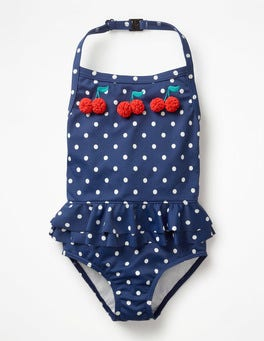 Deep Sea Blue Cherries Halterneck Appliqué Swimsuit