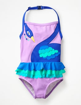 New Lavender Peacock Halterneck Appliqué Swimsuit