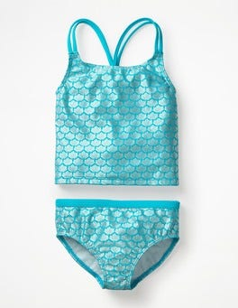 Aqua Jade Mermaid Sparkle Knot-back Tankini Set