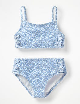 Warm Blue Sweet Berry Smocked Bikini Set