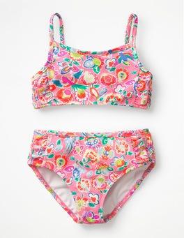 Neon Pink Tropical Paisley Smocked Bikini Set