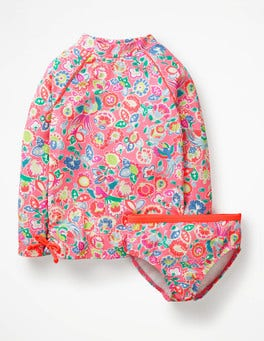 Neon Pink Tropical Paisley Printed Surf Set