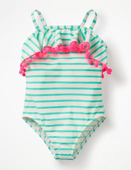 Ivory/Light Green Ruffle Swimsuit