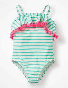 Ivory/Light Green Ruffle Swimsuit