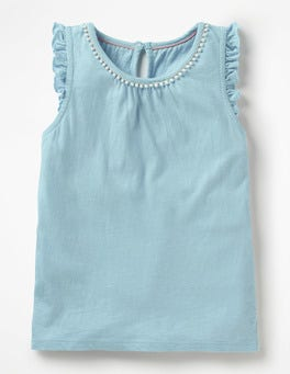 Mineral Blue Flutter Sleeve Jersey Top