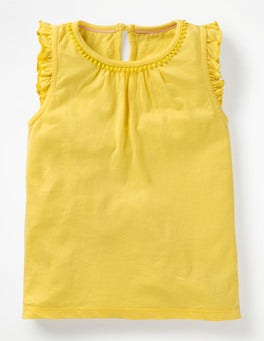 Sweetcorn Yellow Flutter Sleeve Jersey Top