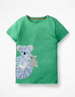 Jungle Green Koala Patchwork Appliqué T-shirt