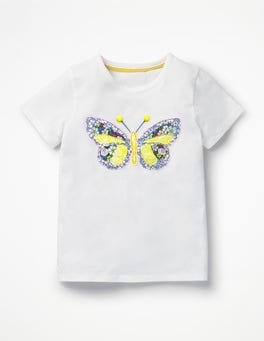 White Butterfly Patchwork Appliqué T-shirt